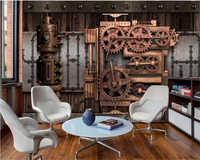 beibehang Classic decorative painting rust silk cloth wallpaper industrial wind mechanical gear background wall 3d wallpaper