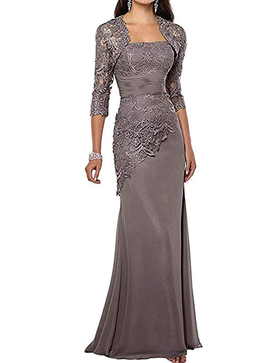 2019 Women's Long Mother of The Bride Dresses Two Pieces Formal Gowns With Jacket Custom Mother Of The Groom Dresses