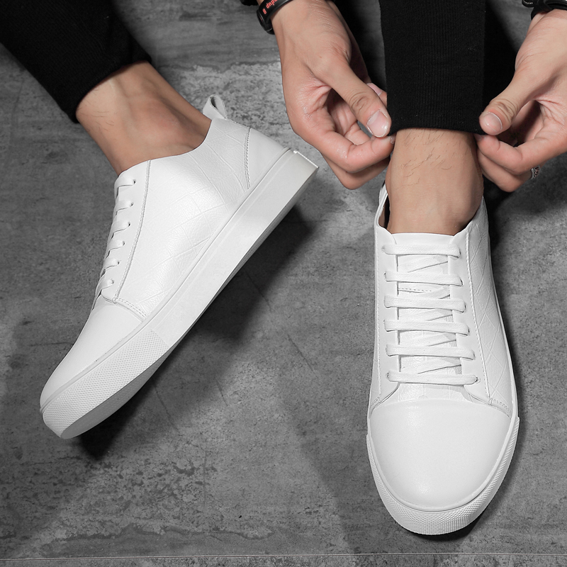 2019 new men 39 s shoes casual genuine leather male lace up big size shoe man classics black and white trend platform shoes for men in Men 39 s Casual Shoes from Shoes