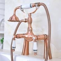Antique Red Copper Double Handles Deck Mounted Bathroom Clawfoot Bathtub Tub Faucet Mixer Tap w/Hand Shower tna172