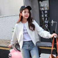 Autumn Korean Baseball Jacket White Loose Short Loose Casual Bomber Jacket Women Casaco Feminino Bomber Jacket Womens