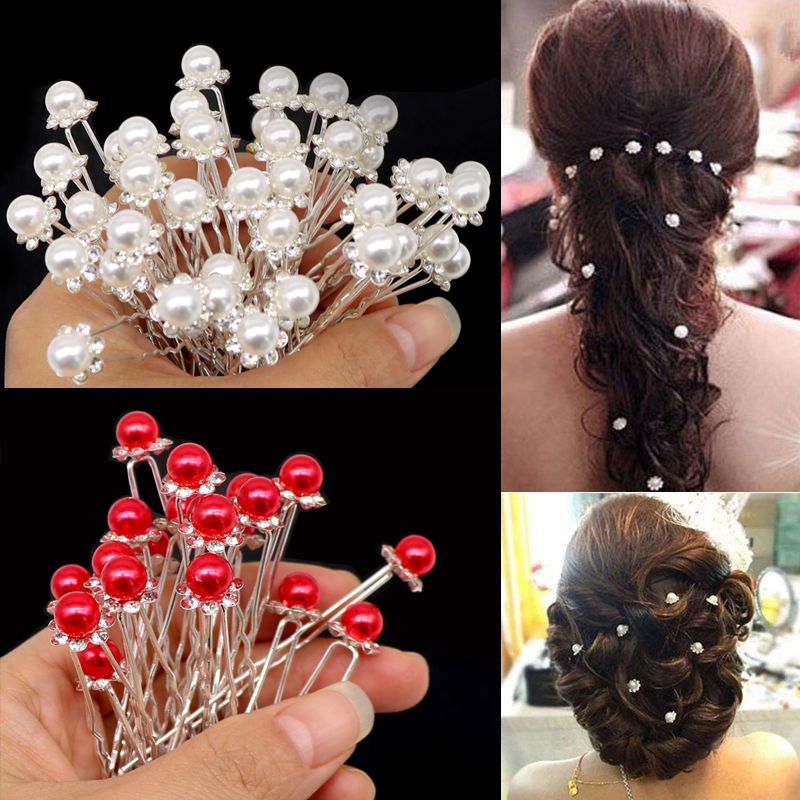 1/ 5/ 12 /20Pcs Fashion Crystal Pearl Wedding Hair Pins Flower Bridal Hairpins Bridesmaid Hair Clips Hair Accessories Barrettes
