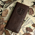 2015 new 100% genuine leather men's wallet vintage dragon style head cowhide  man multi-card billfold  purse free shipping