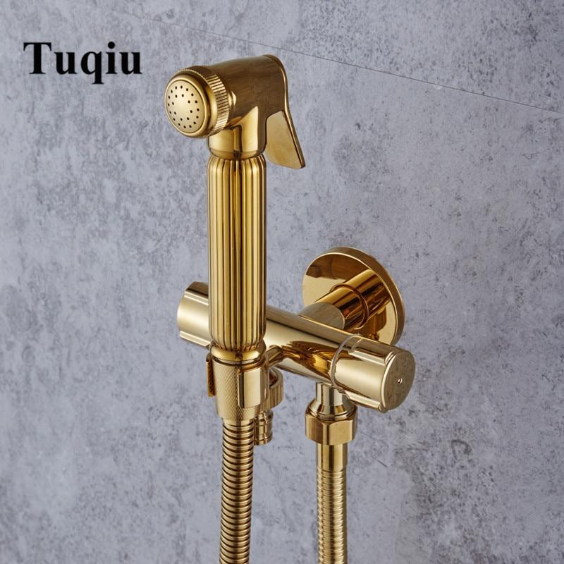 Bidet Faucet Wall Handheld Bidet Spray Shower Set Toilet Shattaf Sprayer Douche Kit Bidet Faucet Set Gold