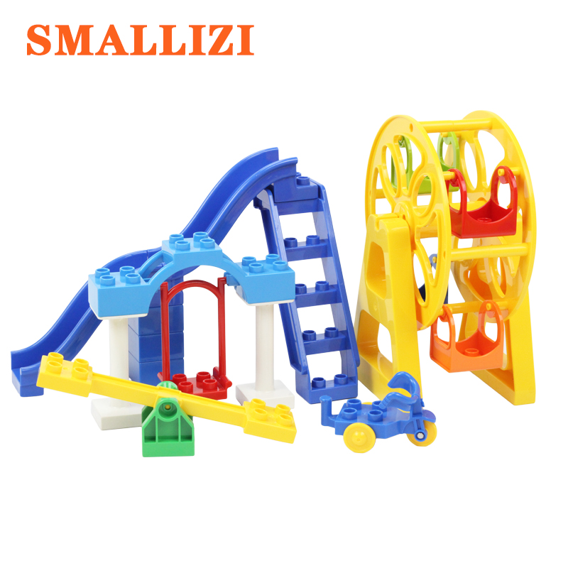 Playground Big Building Block Spare Parts Compatible With Duplo Accessories Ferris Wheel Tricycle Swing Slide Seesaw Bricks Toys