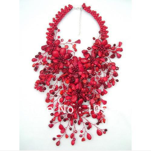 Charming Red Coral Flower Jewelry Luck Red Color Coral Howlite Crystal Beads Wird Flower Heavy Statement Necklace 16'' Hot Sale 7 пряди red coral
