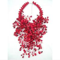 Charming Red Coral Flower Jewelry Luck Red Color Coral Howlite Crystal Beads Wird Flower Heavy Statement Necklace 16'' Hot Sale