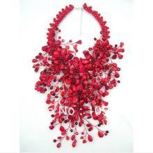 מקסים אדום קורל פרח תכשיטי מזל אדום צבע קורל Howlite קריסטל חרוזים Wird פרח כבד הצהרת שרשרת 16 מכירה לוהטת