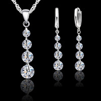 JEXXI Shining 925 Sterling Silver Link Chain Crystal Pendant Necklace Earrings Set For Women Choker Chains