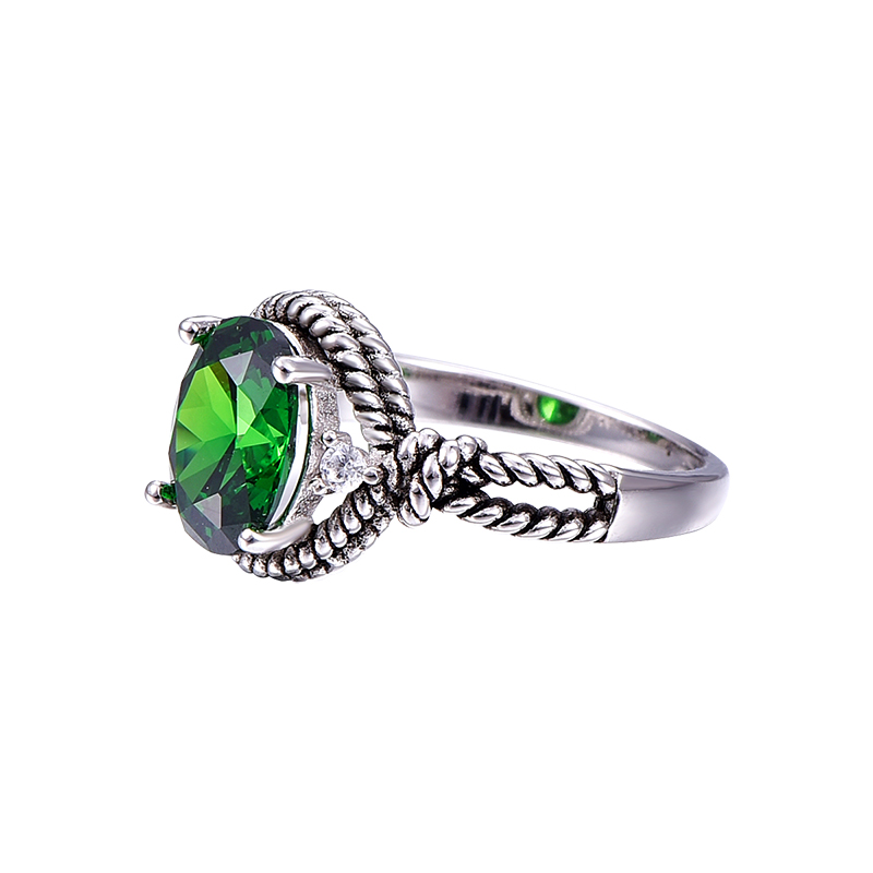 brilliant eternity full inc ring emerald green rings