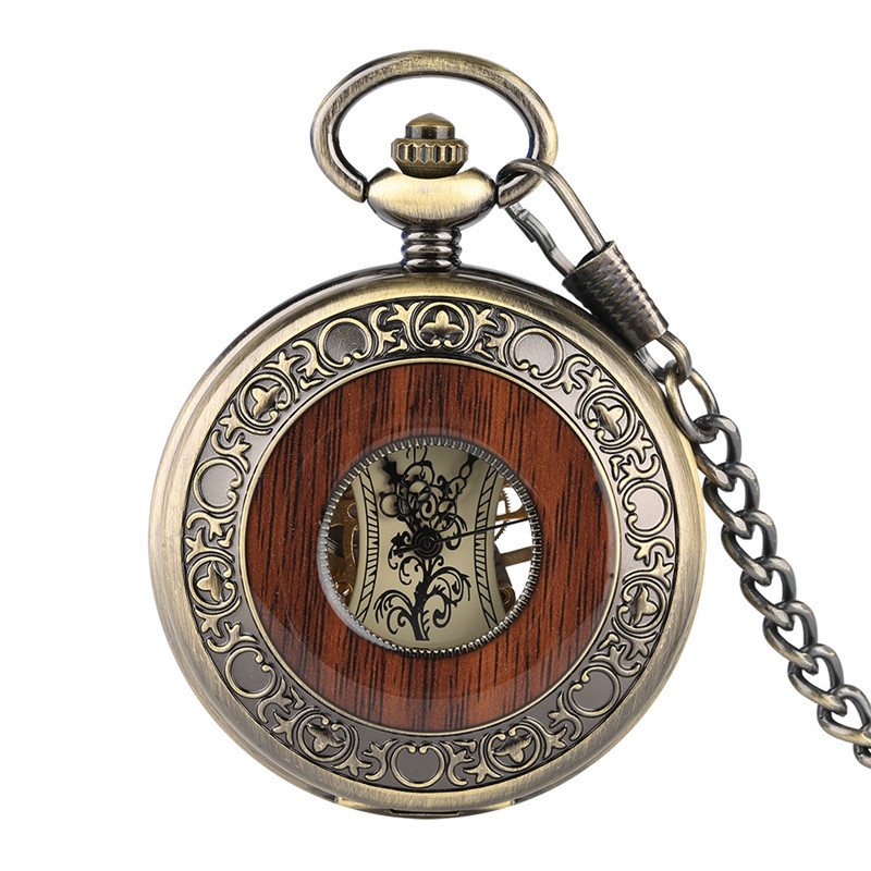 Classic Fashion Mechanical Watches  Exquisite Wooden Pattern Hollow Pocket Watch For Boys Simple Light Pocket Watch With Chains