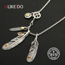 Solid 925 Sterling Silver Feather Necklace For Men Vintage Charms Takahashi Eagle Pendant Eagle Chain New Popular Jewelry P7