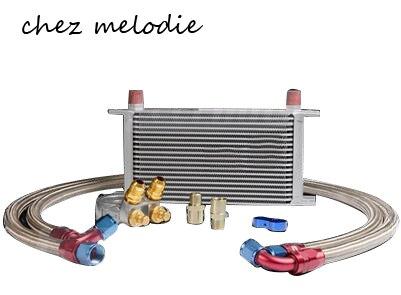 Universel MOCAL Type britannique 19 rangées AN10 refroidisseur d'huile kit de radiateur + adaptateur de plaque Sandwich de relocalisation de filtre avec Thermostat