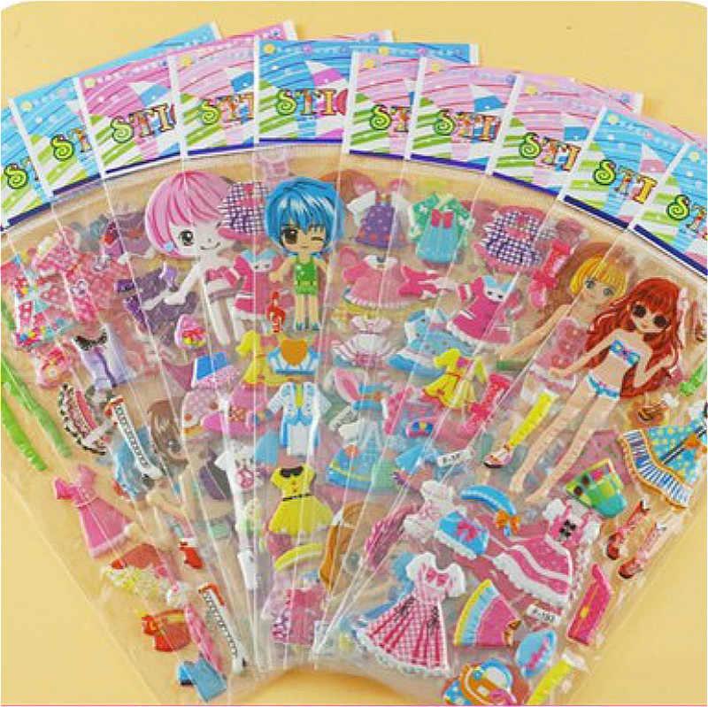 ثلاثية الأبعاد منتفخ فقاعة ملصقات الكرتون الأميرة القط Waterpoof لتقوم بها بنفسك ألعاب الأطفال للأطفال الاطفال صبي فتاة