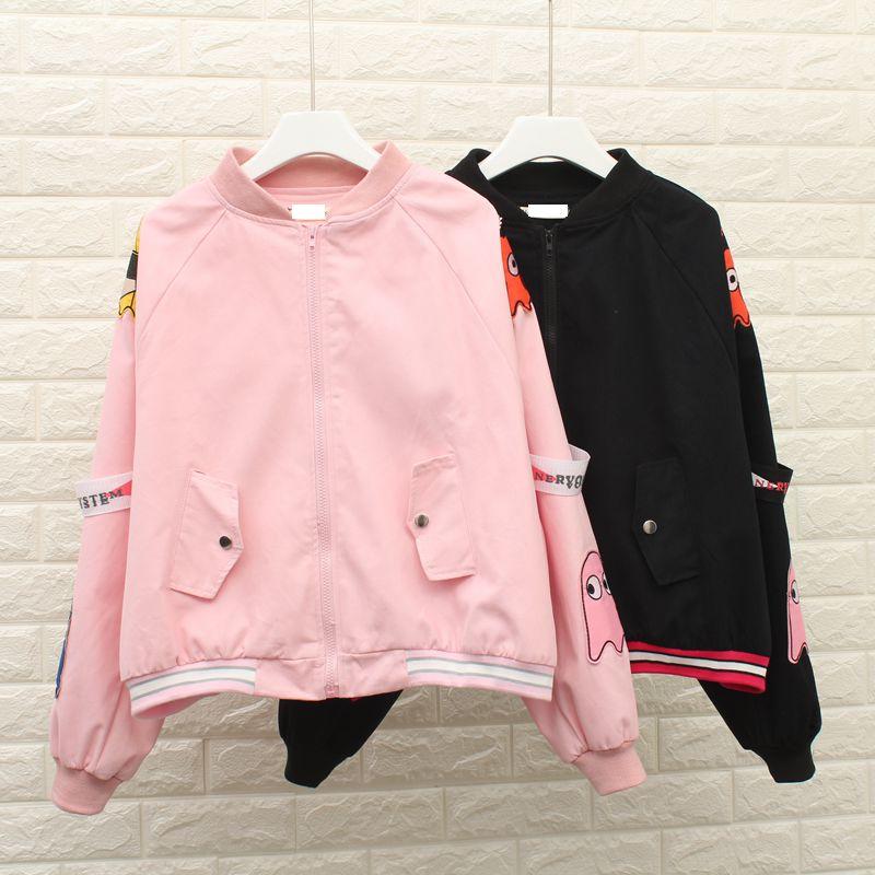 2017 Pink Baseball Basic Jackets Coats Autumn Fashion Bomber Jacket loose  Embroidered Women coat Women jacket YQ53