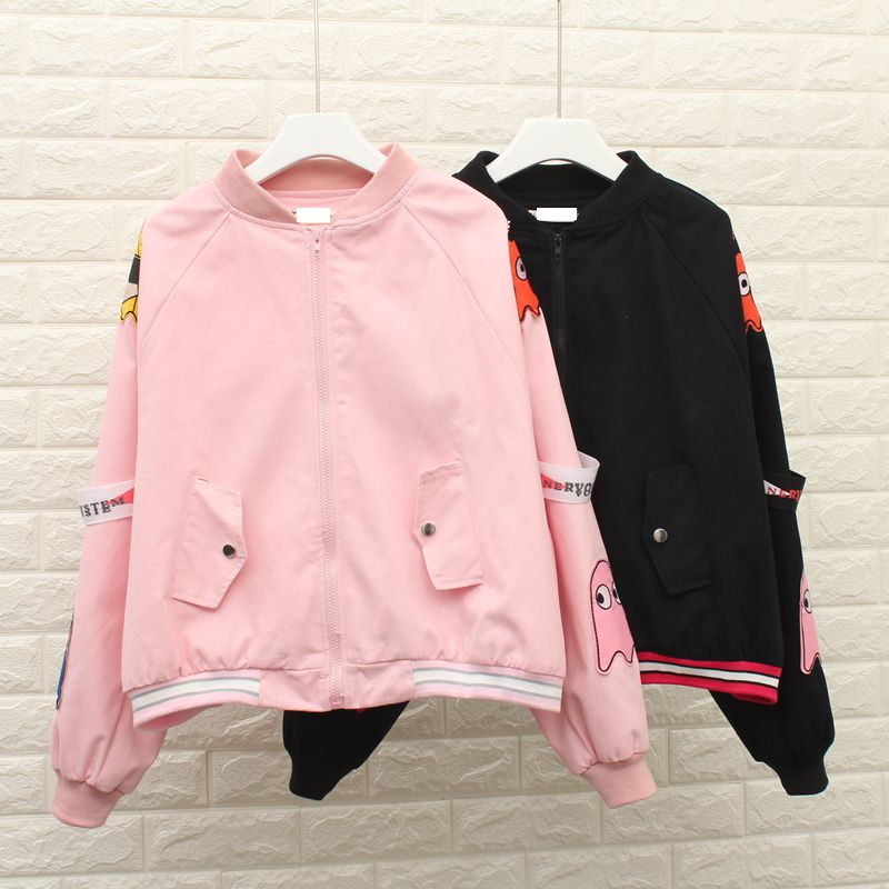 2017 Pink Baseball   Basic     Jackets   Coats Autumn Fashion Bomber   Jacket   loose Embroidered Women coat Women   jacket   YQ53