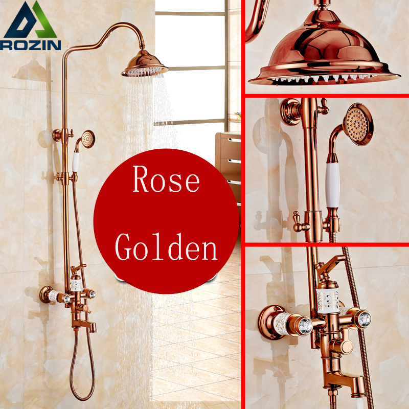 Best Quality 8 in-wall Rainfall Shower Faucet Set Wall Mounted Rose Gold Bathroom Shower Kit +handshower Swivel Tub Spout