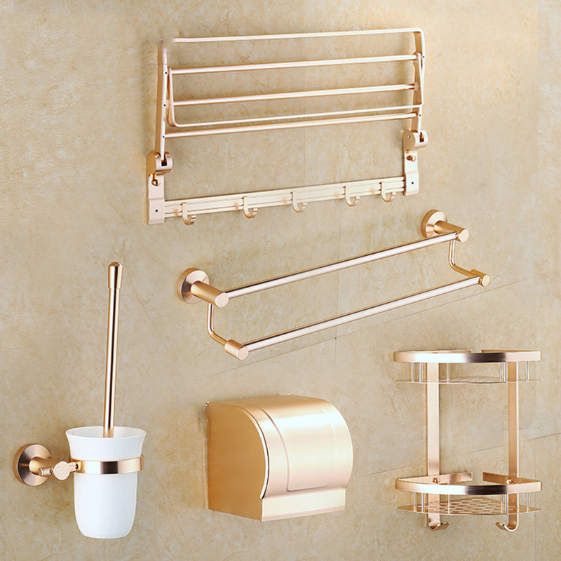 Bathroom Accessorie Anodizing Metal Golden Aluminum Bath Hardware ...