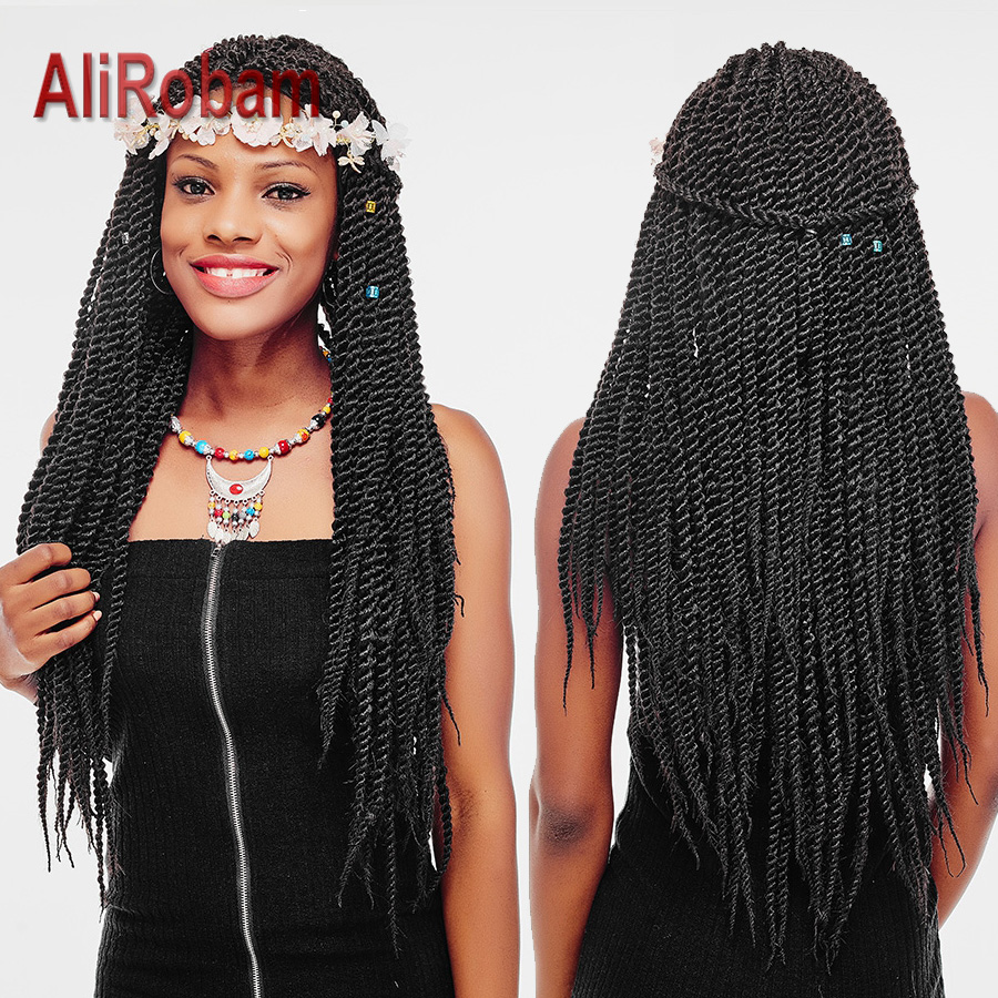 alirobam crochet braids senegalese twist black spiral twist hair weave kanekalon synthetic braiding hair extension 22roots/pack