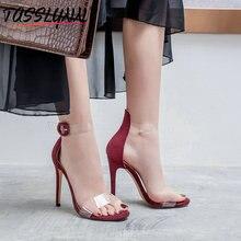 Купить с кэшбэком TASSLYNN 2019 Women Sandals Plastic Buckle Strap Thin High Heels Mature  Clear Shoes Women's Shoes Round Toe Big Size 34-43