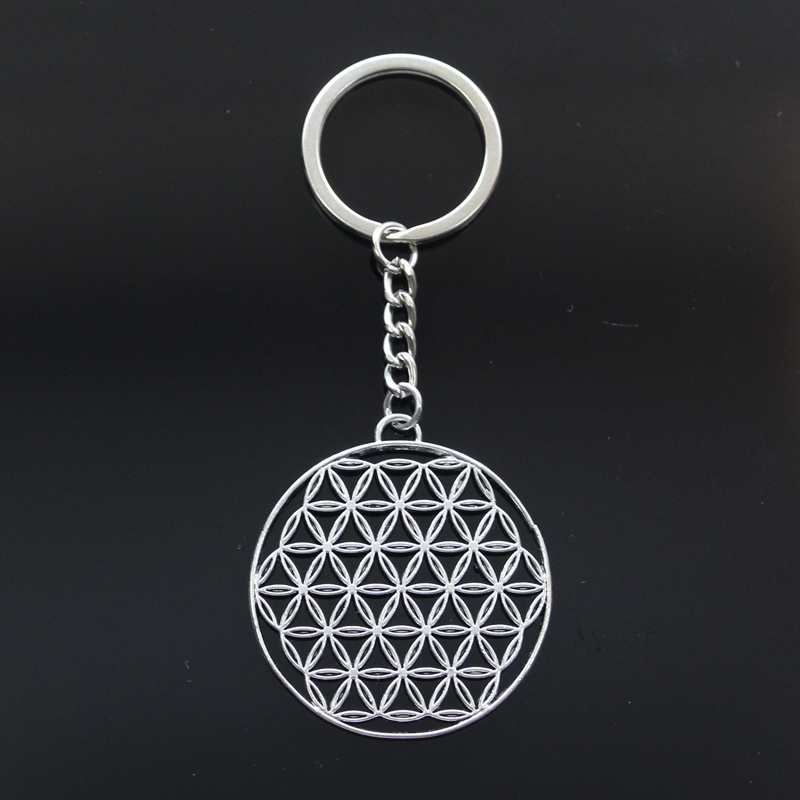 Hot Fashion Datura Stramonium Flower Of Life Yoga 48x44mm Pendant 30mm Key Ring Metal Chain Silver Men Car Keychain Dropshipping
