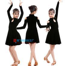 Adult Child Latin dance costume senior Velvet long sleeves latin dance dress for women/child latin dance dresses S-4XL