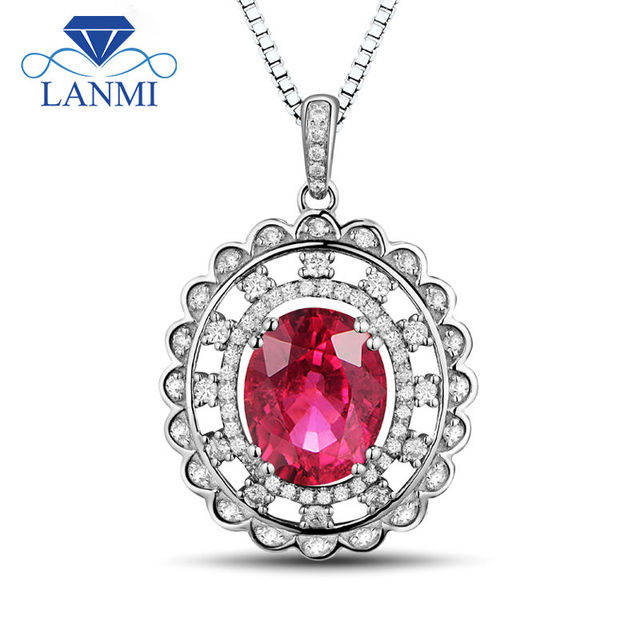 Fine Jewelry Oval 9x11mm Red Ruby In Diaomnd Natural 14Kt White Gold Fantastic Wedding Pendant  Necklace WP050