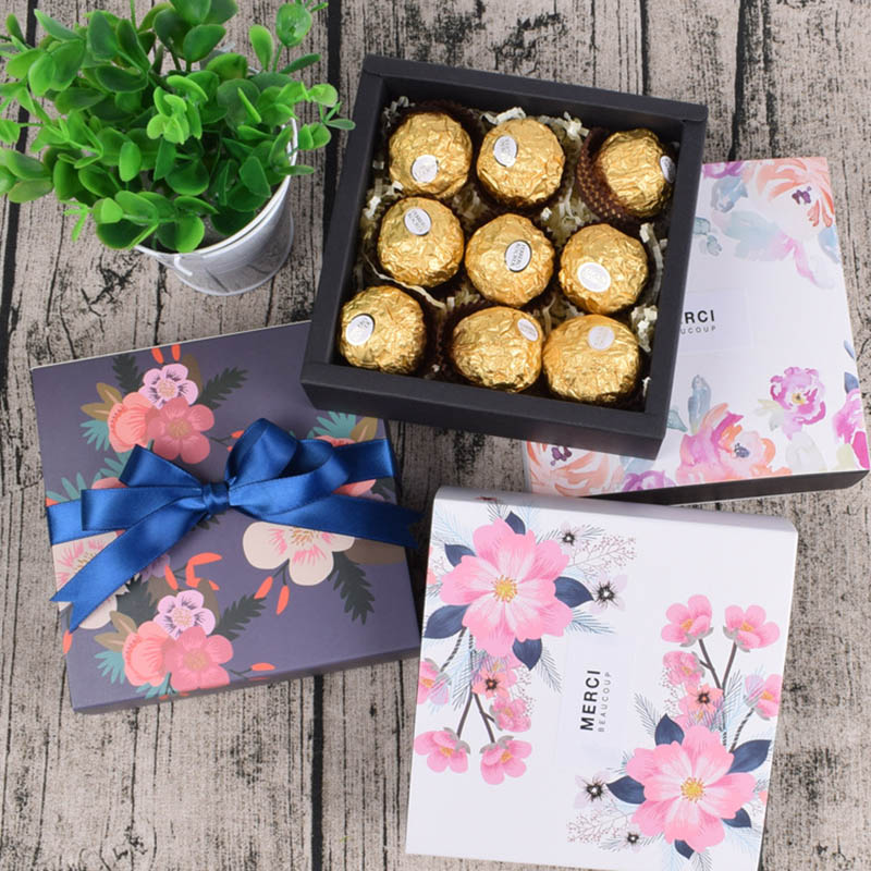 5PCS Party Present Wedding Favor Box For Candy Cake Chocolate Boite Dragees Bonbonniere Flower Boxes Gift Box Packaging Sweet