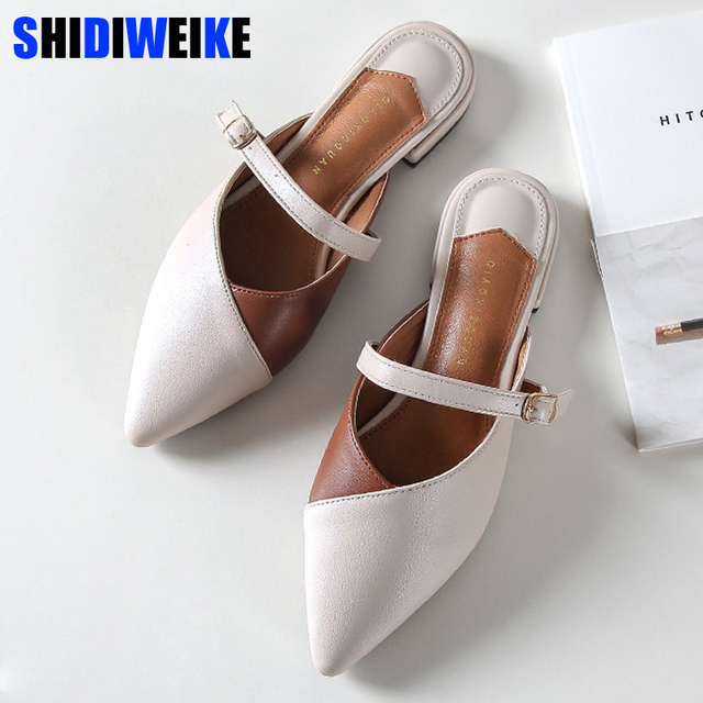 2019 Summer Classic Mules Shoes Slides PU Leather Outdoor Slipper Flat Heel Platform Buckle Woman Pointed toe Shoes Sandals n674