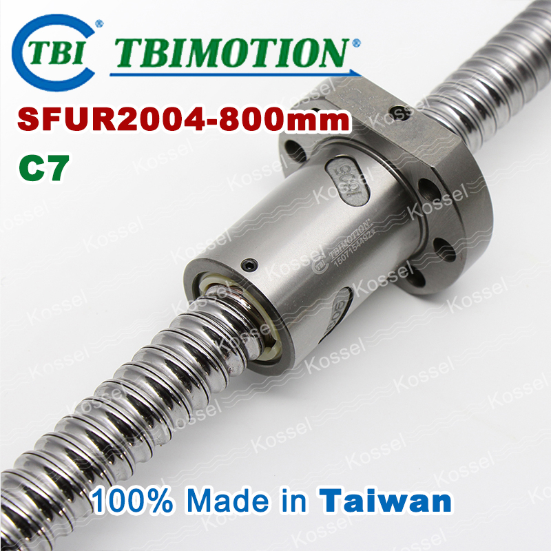 TBI 2004 C7 800mm ball screw 4mm lead with SFU2004 ballnut of SFU set end machined for high precision CNC diy kit винт tbi sfkr 0802t3d