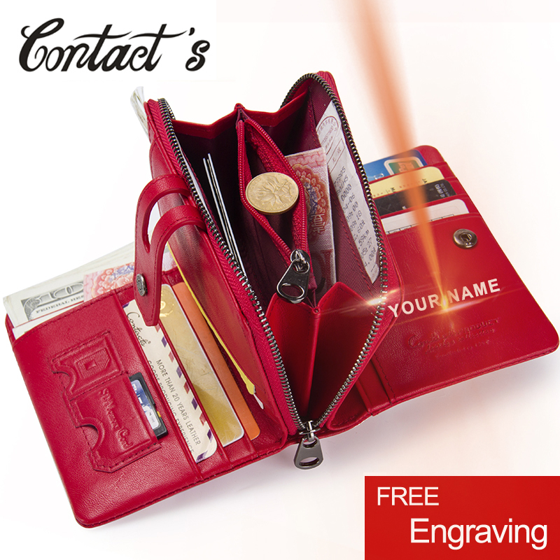 Contacts's 2019 Women Short Wallets Genuine Leather Woman Wallet Zipper Coin Purse With Card Holder Money Bags Large Capacity