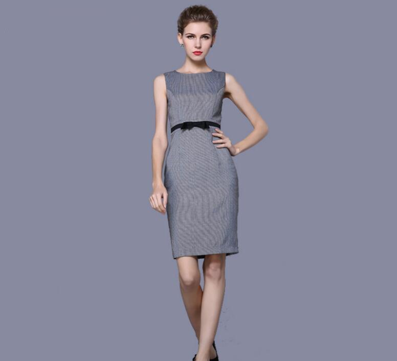 Gratuite Manche Mini Sleeve D'été Robe cou Mince Partie Lady Qualité Livraison De D'o Maxi Femmes Sans sleeveless Bureau Gris Vêtements Haute Short f8RUn8