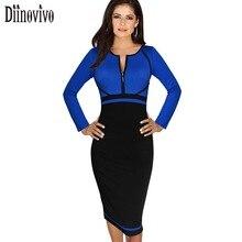 Plus size XXXL Womens long sleeve Colorblock Front Zipper Patchwork Dress Work Business Party Sheath Pencil Bodycon Dresses  43