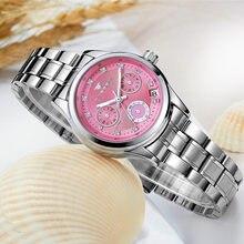 dee9aa386de Relógio Mecânico Mulheres Relógio de prata Moda Champagne dial FNGEEN  novíssimo relógio automático(China)