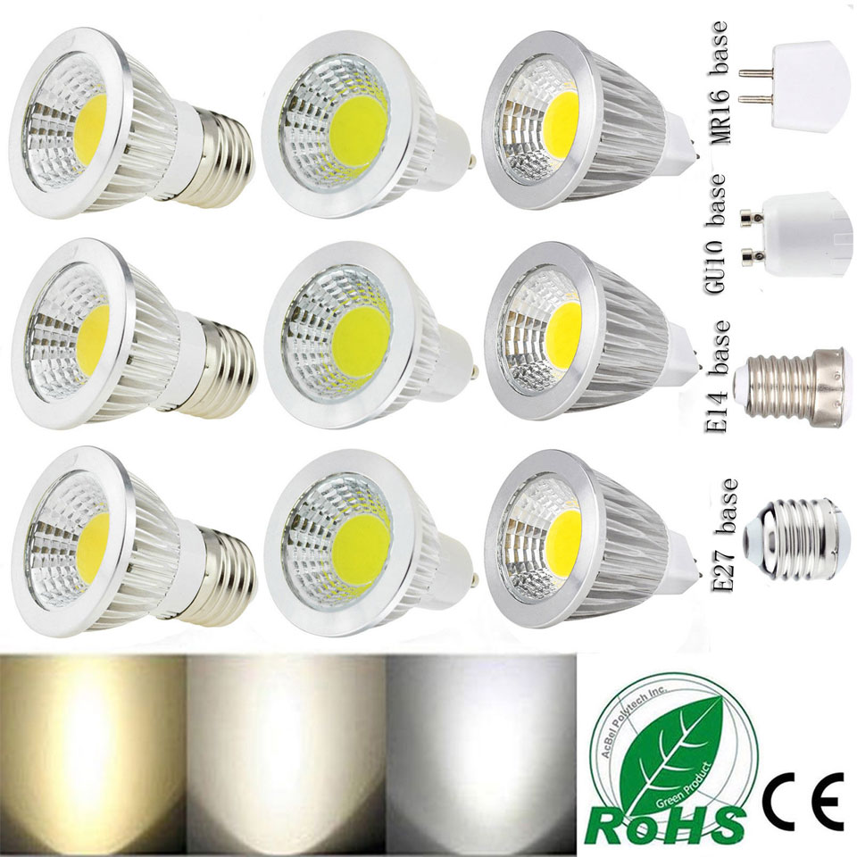 gu10 Led Dimmable Bulbs E27 E14 MR16 AC DC 12V LED COB Spotlight 6W 9W 12W Spot Light Bulb High Power lamp AC 85-265V 1pcs gu10 mr16 smd2835 led bulb e27 220v 230v spotlight 4w 6w 8w 48leds 60leds 80leds spot light cree bulb