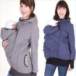 Nueva moda 2017 Sudadera con capucha de manga larga con capucha ropa de maternidad para mujeres embarazadas hoddie carry baby infant zipper coat
