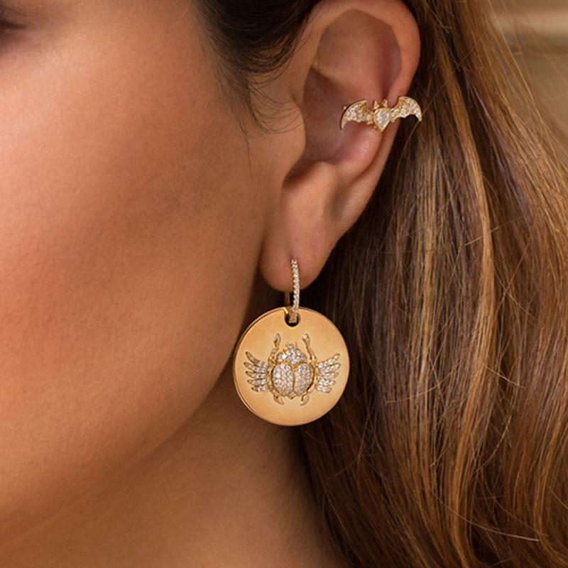 SKA Brand Drop Earrings 2018 New Arrivals Earrings For Women Monaco Sterling Silver Inlaid Zircon Fashion Jewelry AE10612OXY women s new zircon inlaid letter round earrings