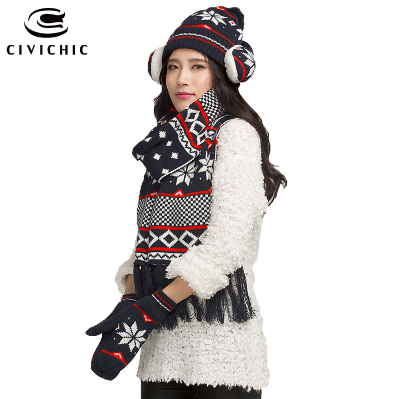 CIVICHIC Christmas Gift Warm New Year Knit Scarf Hat ...