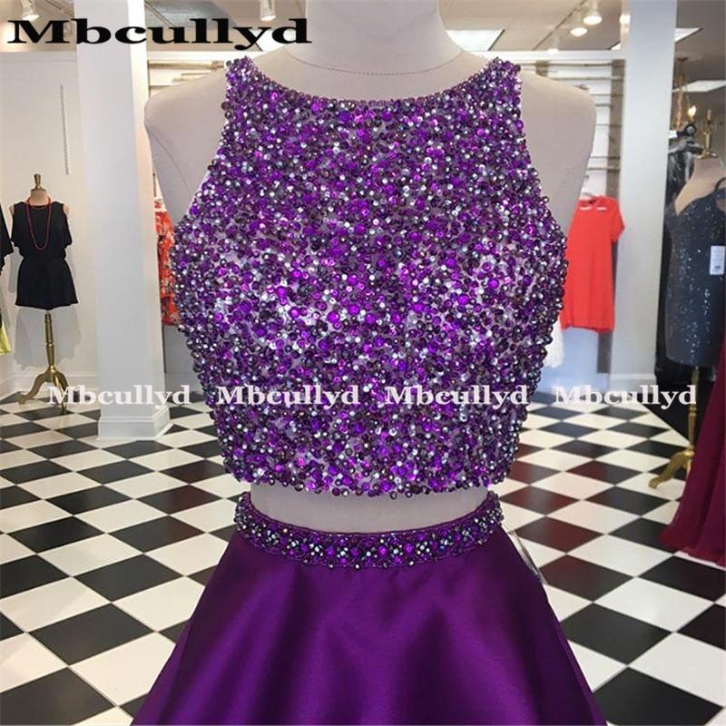 Mbcullyd сверкающие Бисероплетение Кристальные платья 2020 сексуальные фиолетовые две части вечернее платье на выпускной платье для женщин - 2
