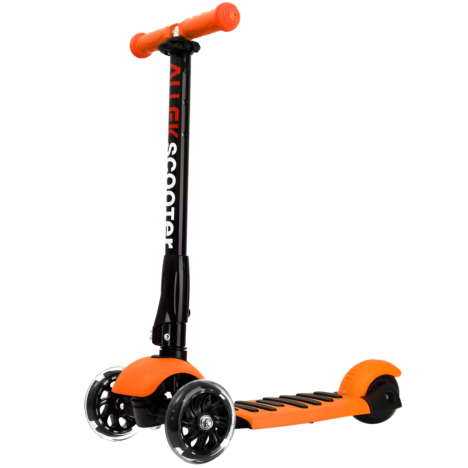 Orange Scooters Allek Foot Kick Scooter Folding 3 Wheels with LED Light Up T-bars for Kids folding kick scooters foot scooters children best birthday gift with flash pu wheels free shipping