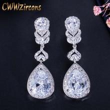 CWWZircons Elegant Water Drop Shaped Cubic Zirconia Crystal Bridal Long Earrings Luxury Wedding Jewelry for Brides CZ166