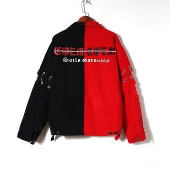 Fashion Left Red Right Black Denim Jacket Women Casual Contrast Color Jean Jacket Female Detachable Sleeve Denim Coat Куртка