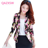 QAZXSW Fashion Spring Women Jacket 2019 New Floral Print Suit Ladies OL Short Suit Jacket Full Sleeve Chaquetas Mujer LJ4058