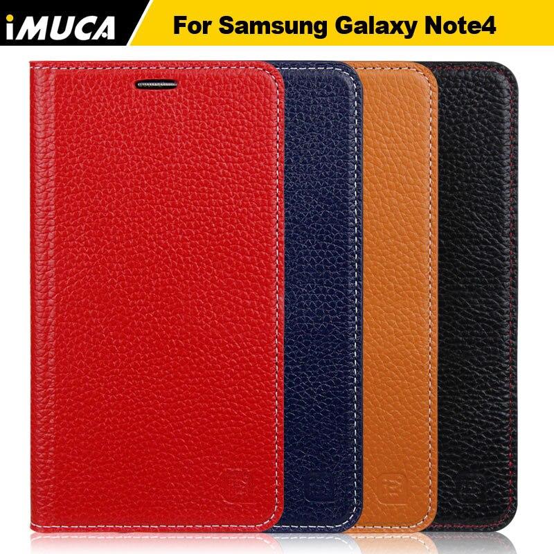 Imuca caso del soporte de la carpeta para samsung galaxy note 4 n9108 n9100 nota