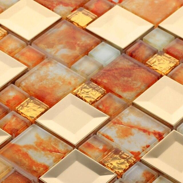 EHD2006 stainless steel mixed orange color glass mosaic tiles for kitchen  backsplash bathroom shower tile hallway