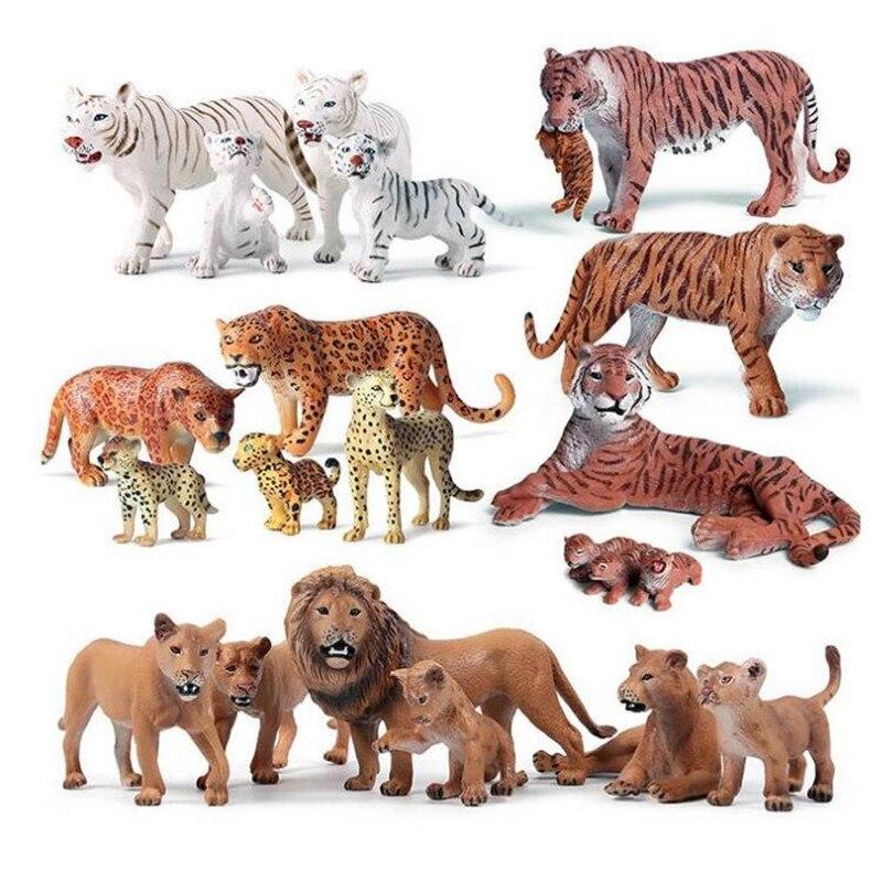 6pcs Savage Tigers Lions Wild Animal Action Figure Tiger Cub Female Tiger Model Animals
