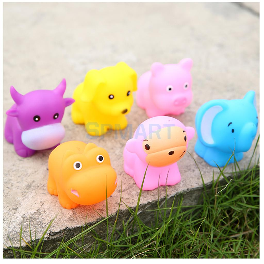 6pcs Floating Soft Rubber Farm Animal Pig Dog Bathtub Toy Squeezing Squeaky Bath Water Kid Toddler Baby Play Game