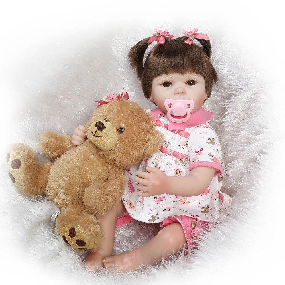 все цены на Nicery 20-22inch 50-55cm Bebe Reborn Doll Soft Silicone Boy Girl Toy Reborn Baby Doll Gift for Child White Dress Gray Bear Doll онлайн