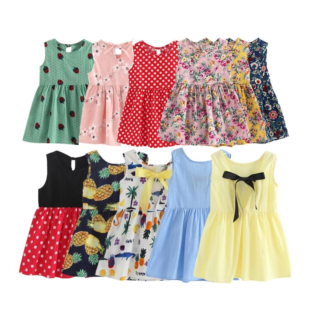 цена на Children Dresses Kids Girl Sleeveless Flower Print Cotton and Linen floral Dress Baby Girl Spring Summer dresses for girls