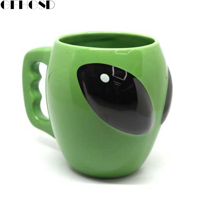 GFHGSD Creative Anime Alien Coffee Mug,Green alien ceramic mug , Personality Funny fun gift cups